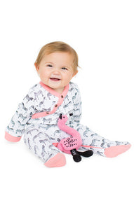 Finn + Emma Organic Pajama Footies in Zebra are made from G.O.T.S. certified organic cotton. Features non-toxic, eco-friendly dyes, Lead/nickel free snaps.