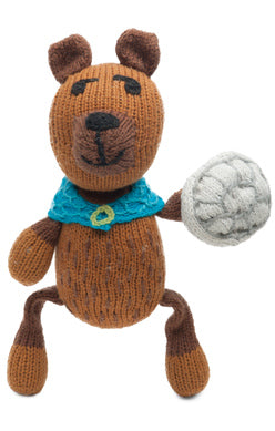 The Finn + Emma Bear Rattle Buddy is made from organic GOTs certified cotton and stuffed with sheep's wool. Eco-friendly inks and dyes and fair-trade.