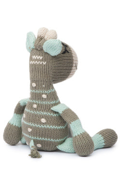 The Finn + Emma Giraffe Rattle Buddy is made from organic GOTs certified cotton and stuffed with sheep's wool. Eco-friendly inks and dyes and fair-trade. The Eco Baby Co™.