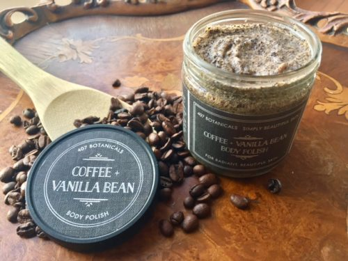407 Botanicals Coffee & Vanilla Body Scrub Sold online at The Eco Baby Co™. This gentle scrub reveals radiant, refined skin with organic Shea and Kukui Nut, plus gently warming Capiscum butters.
