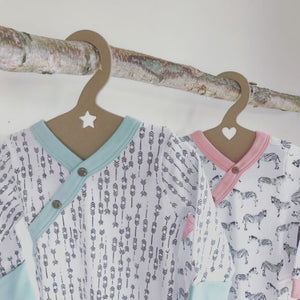 Our children's hangers are sustainable and zero waste. Featuring 100% recycled and recyclable paper board. Proudly made in the USA, two options. Sold online at The Eco Baby Co™.