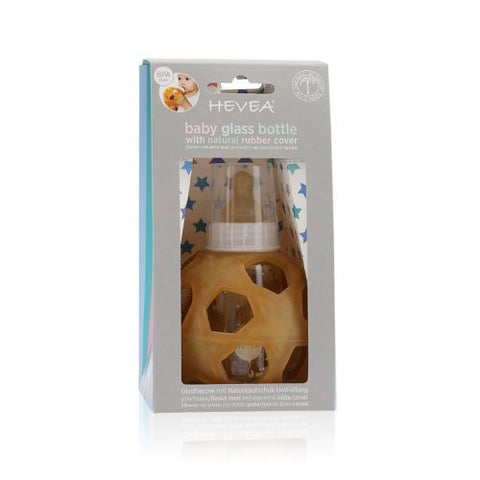 Hevea 2-in-1 Baby Glass Bottle with Star Ball is made of 100% borosilicate glass and features a 100% natural rubber nipple. It's BPA, phthalate & PVC free. Sold online at The Eco Baby Co™, a zero waste and plastic-free baby store.