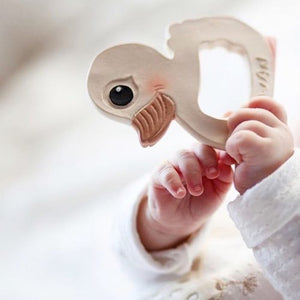 The Hevea Kawan Duck Natural Rubber Teether encourages baby's natural gnawing action & the gently textured surface is ideal for soothing and massaging gums. Shop the full line of Hevea natural rubber products for babies and toddlers at The Eco Baby Co™.