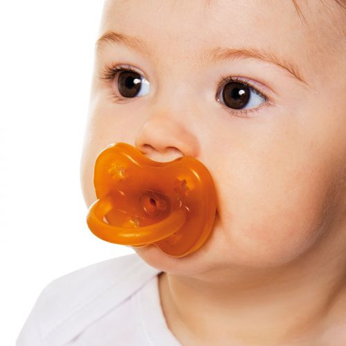 The Hevea Orthodontic Natural Rubber Pacifier Flower design. Contains No PVC, BPA, phthalates, artificial colors, and features ventilation holes. Sold online at The Eco Baby Co™, a zero waste and plastic-free baby store.