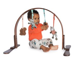 Our 2 height adjustable Play Gym has a 100% birch wood frame finished with non-toxic stains and lacquers (free of lead, phthalate, nickel, mercury, and VOC's). The wooden toys are non-toxic, made from all natural untreated Indian hardwood buffed with vegetable seed wax. The knit dolls were made with phthalate-free rattles inside and hand knit from organic cotton. Sold at Simply Natural Baby Store™.