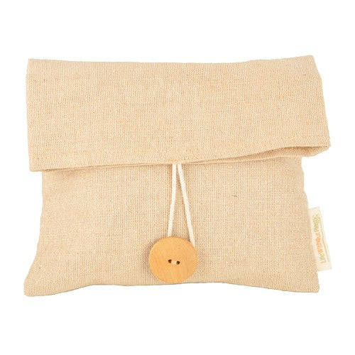 The Life Without Plastic Jute Sandwich bag features a new eco fabric composed of 75% jute and 25% cotton. It's durable and water resistance, while having a finer weave and softer texture thanks to the presence of cotton. It features two buttons to customize the size of the bag. U.S. shipping only $2.95.