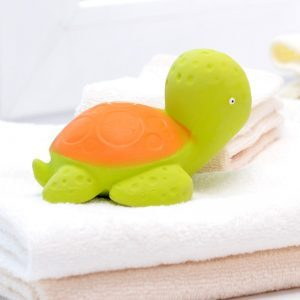 "caaocho® 100% pure natural rubber bath toy Mele the Sea Turtle (""mele"" means ""song/poem"" in Hawaiian) makes bath time a happy and fun time. The toy starts as pure natural tree sap from the rubber tree Hevea that is minimally processed into durable 100% pure natural rubber. Certified BPA, PVC, Phthalate and Nitrosamine free, painted with food-grade paints, the toy is completely non-toxic. Mele the Sea Turtle is earth friendly, it is produced sustainably and is entirely biodegradable."