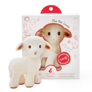 Meet your baby's new friend - Mia the Lamb, caaocho® 100% pure natural rubber teething toy. The teething toy starts as pure natural tree sap from the rubber tree Hevea that is minimally processed into durable 100% pure natural rubber. Certified BPA, PVC, Phthalate and Nitrosamine free, painted with food-grade paints, the toy is completely non-toxic. Our teething toy Mia the Lamb is earth friendly, it is produced sustainably and is entirely biodegradable.