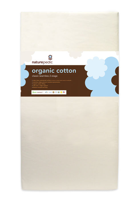 The Naturepedic Organic Cotton Classic 150 Seamless 2-Stage Crib Mattress meets GREENGUARD® standards. Features 150 coils & firm waterproof surface. Shop our full line Naturepedic baby and toddler organic bedding products at The Eco Baby Co™.