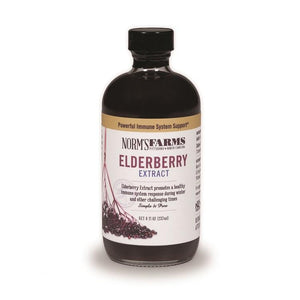 Norm's Farms Elderberry Extract is made from farm-fresh North American elderberries.Gentle water extraction process. Contains no alcohol or glycerin.
