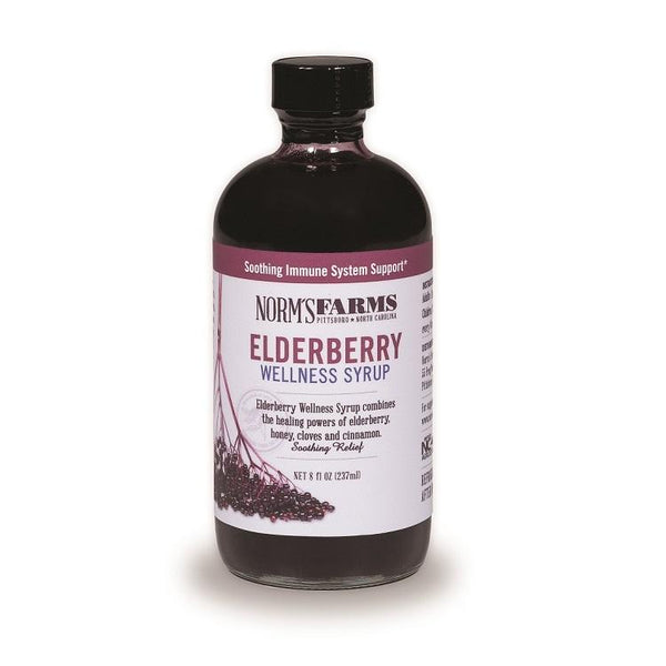 Elderberry Wellness Syrup contains equal amounts of Elderberry Extract and honey, perfectly spiced with clove & cinnamon. Contains no alcohol or glycerin.