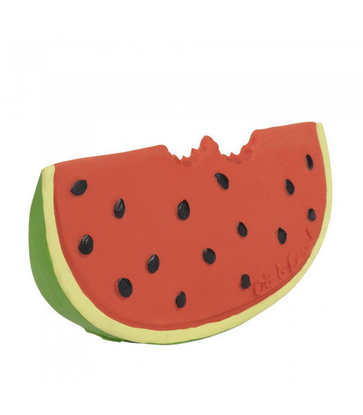 The Oli & Carol Wally the Watermelon Natural Rubber Toy is biodegradable, eco-friendly, BPA, PVC, Phthalate, and Nitrosamines free. No valves mean no mold. Find Oli and Carol natural rubber toys in the USA at The Eco Baby Co™.