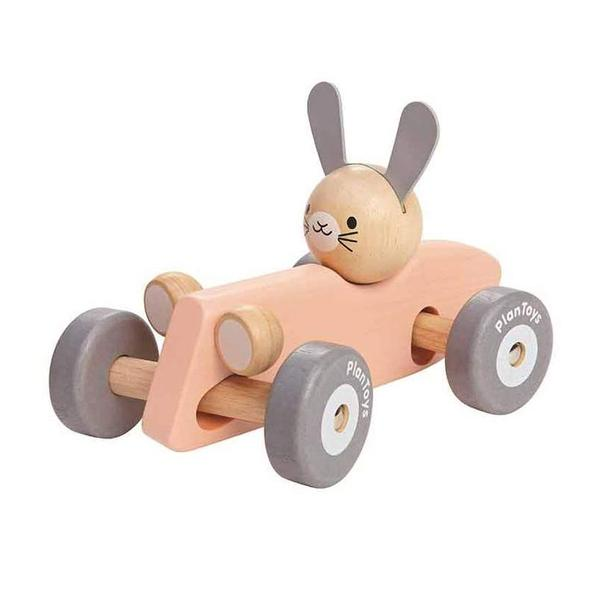 This eco-friendly & sustainable wooden race car has a turning wheel and axles that gives the same movement as a real race car when turning around. Bunny character.