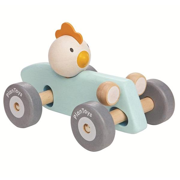 This eco-friendly & sustainable wooden race car has a turning wheel and axles that gives the same movement as a real race car when turning around. Chicken character.