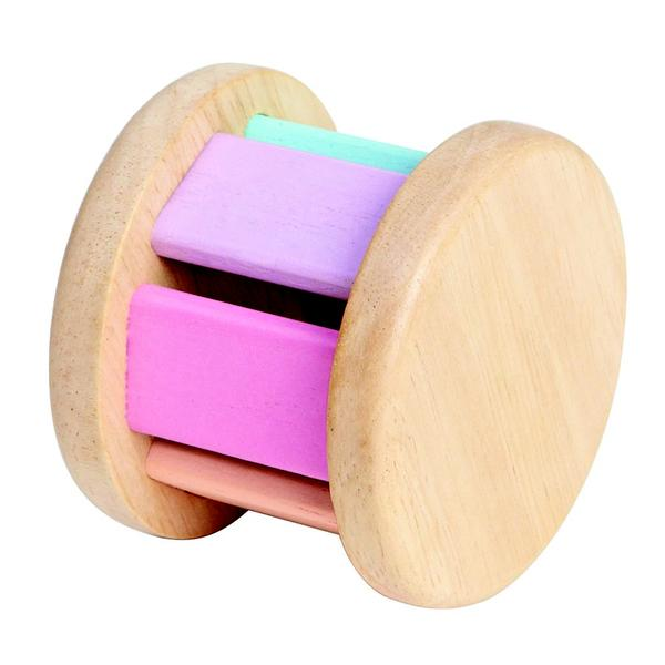 Plan Toys Wooden Rolling Toy creates sounds when rolled while also stimulating sight and sound. Made with sustainable and environmentally-safe materials.