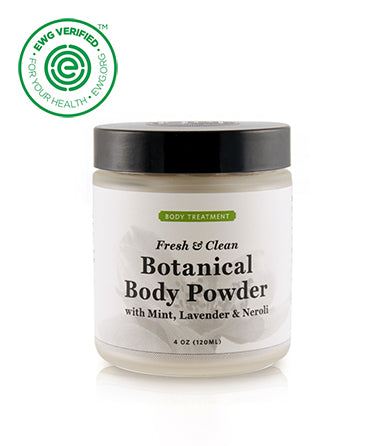 Qēt Botanicals® Botanical Body Powder is 100% talc free, free of bacteria breeding starches, and is nontoxic. A light dusting leaves the skin feeling soothed, silky, and refreshed. It's absorbent, helps to reduce friction, and can relieve skin chafing. Shop online at The Eco Baby Co™.
