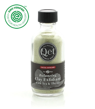 Qēt Botanicals® | Balancing Clay Exfoliant with Tea & Thyme Green tea, thyme, and French green clay work deeply to absorb impurities and calm skin. Sold at Simply Natural Baby Store™.