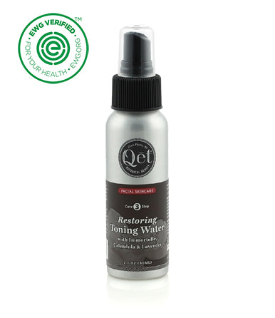 Qēt Botanicals® Restoring Toning Water. Unique hydration and attention to skin dealing with sensitivity, inflammation, or irritation. Sold at Simply Natural Baby Store™.