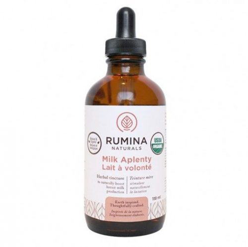 Rumina Naturals Milk Aplenty is an organic proprietary blend of nature's most potent herbs to safely boost breast milk production.Supportive of the female endocrine system. Sold online the USA at The Eco Baby Co™.