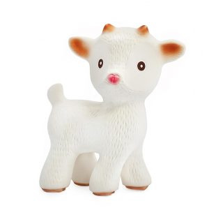 The caaocho® Sola the Goat natural rubber teething toy is 100% durable. Certified BPA, PVC, Phthalate and Nitrosamine free, painted with food-grade paints.
