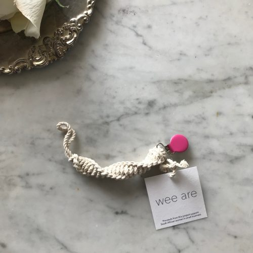 Wee Are Macarame pacifier clips are handmade in the USA from 100% cotton and feature a lead-free clasp. This zero waste pacifier clip meets international safety standards for pacifier cords/ clips. Proceeds benefit South African women in small business.