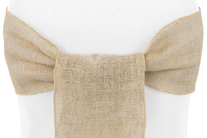 Burlap Wedding Rentals and Burlap Chair Sash Rentals