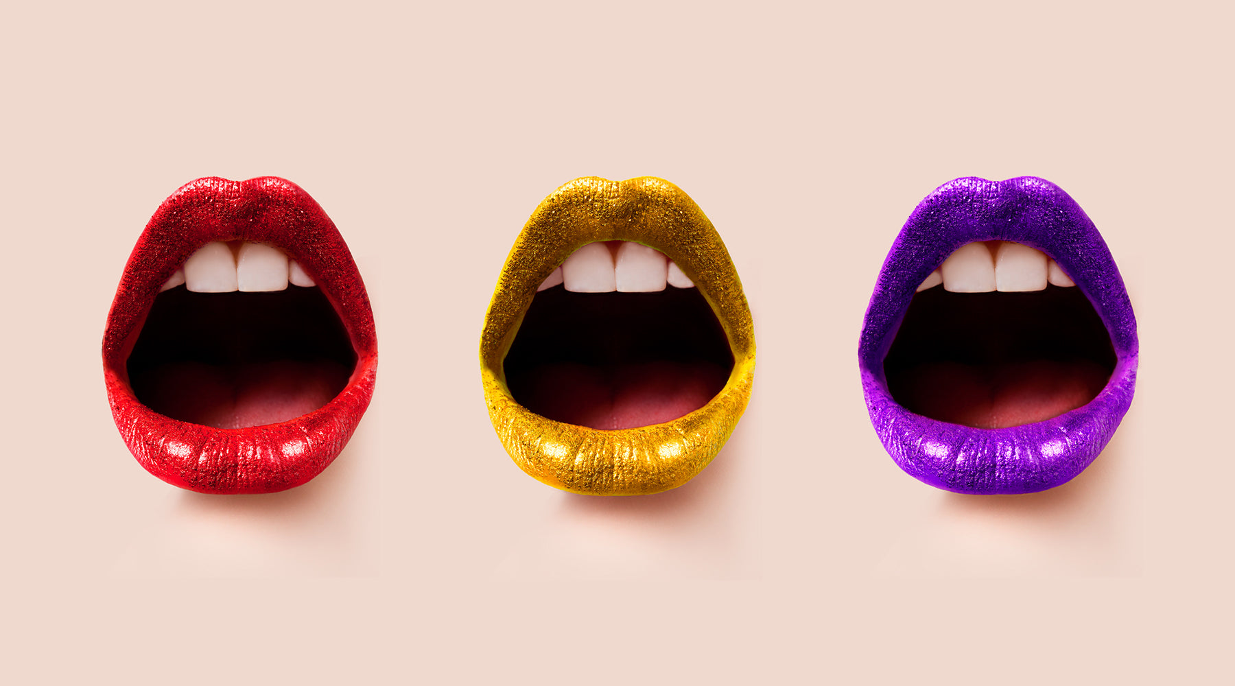 Three open mouths in a row with glittered lipstick | Nikki Darling Australia