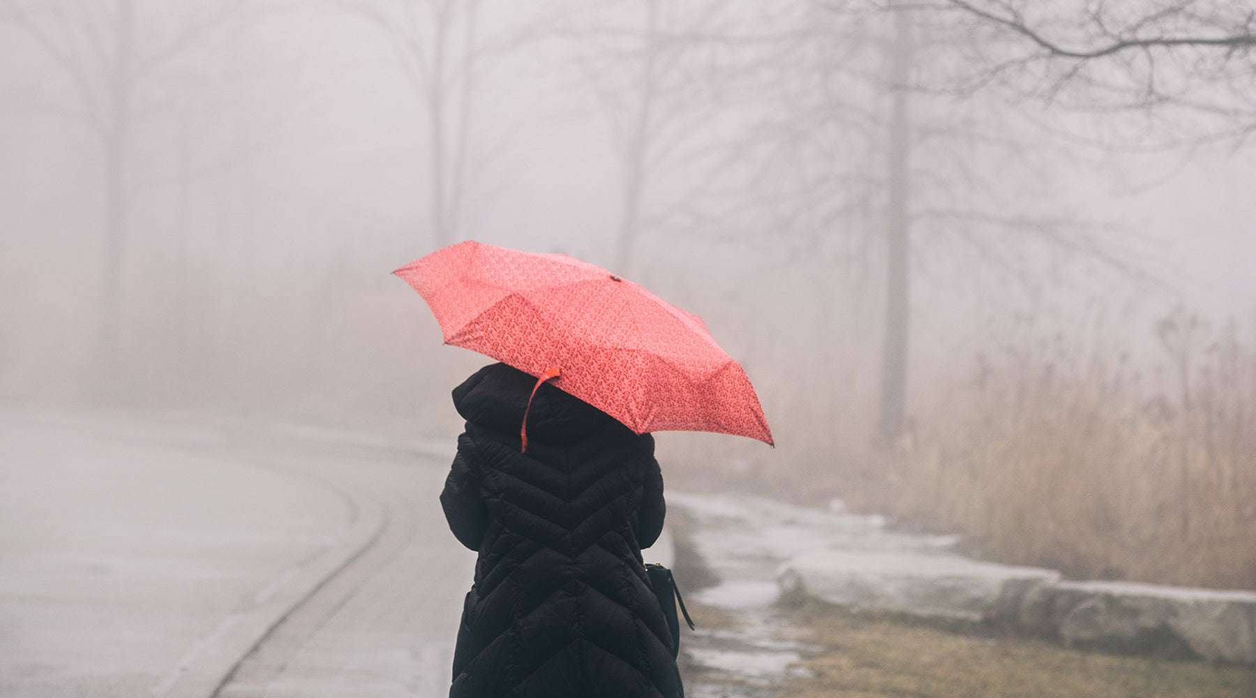 A person wearing a puffy black jacket and holding a red umbrella overhead walks away from the camera in the rain | Nikki Darling Australia