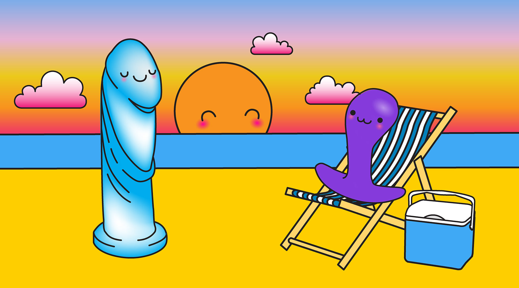 Summer Banner - Dildo and Plug Mascots at the beach at sunset | Nikki Darling Australia