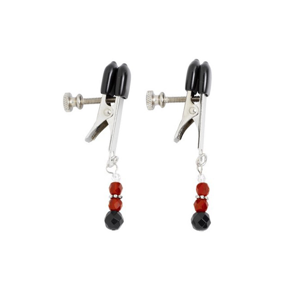 Spartacus Broad Tip Beaded Nipple Clamps in Red | Nikki Darling Australia