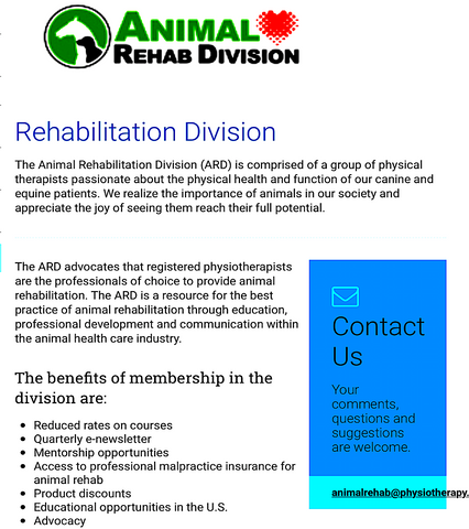 ANIMAL REHAB DIVISION-CANADIAN PHYSIOTHERAPY ASSOCIATION