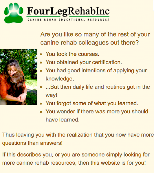FOURLEG: canine rehab resources