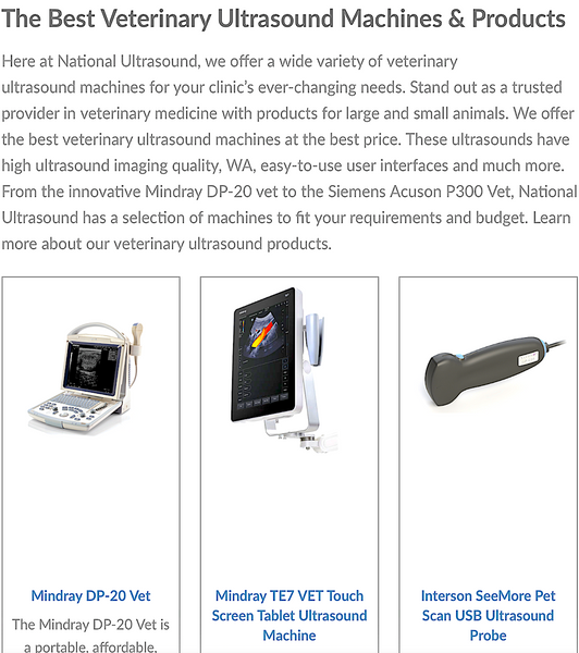 NATIONAL ULTRASOUND: the best veterinary ultrasound machines and products