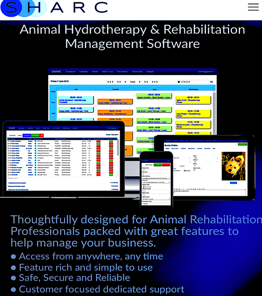 SHARC: animal hydrotherapy and rehabilitation management software