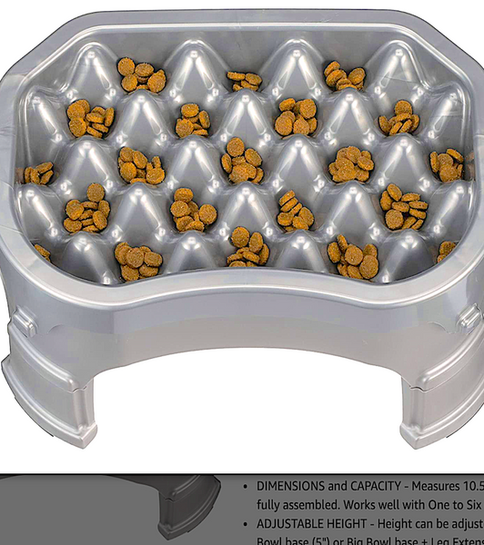 NEATER PET SLOW SINGLE-FEEDER: elevated, adjustable, portion control, with water tub under feeder tray