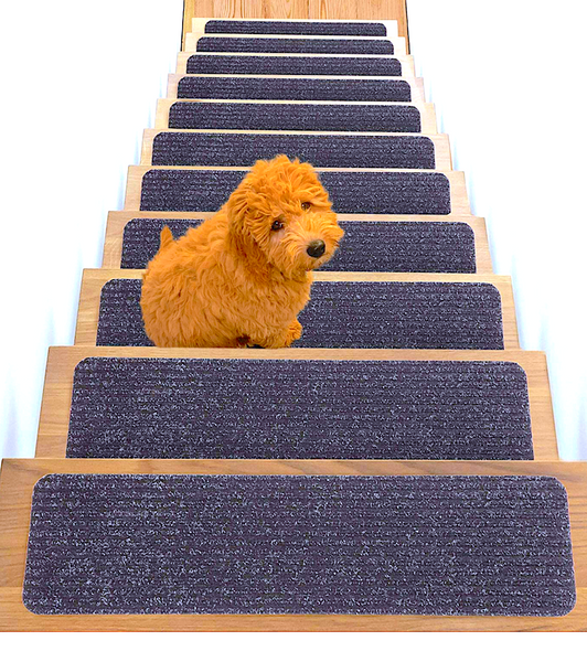 TREADSAFE NON-SLIP CARPET STAIR TREADS: great for older, injured, or unstable pets who need help climbing