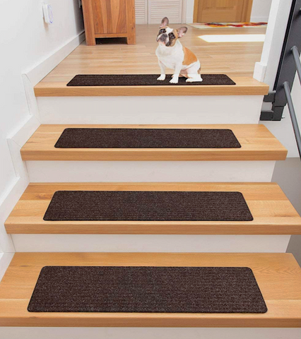 FINEHOUS CARPET TREADS FOR WOODEN STEPS: allows your pet to grip the stairs to prevent slippage