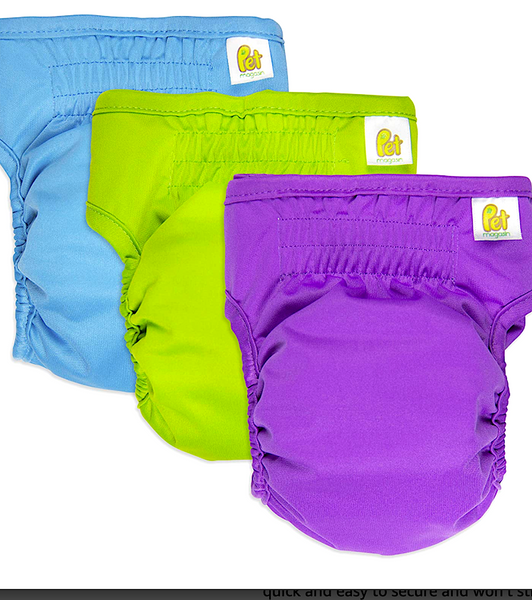 PET MAGASIN REUSABLE WASHABLE DOG DIAPERS (3Pk): highly absorbent and easy to clean