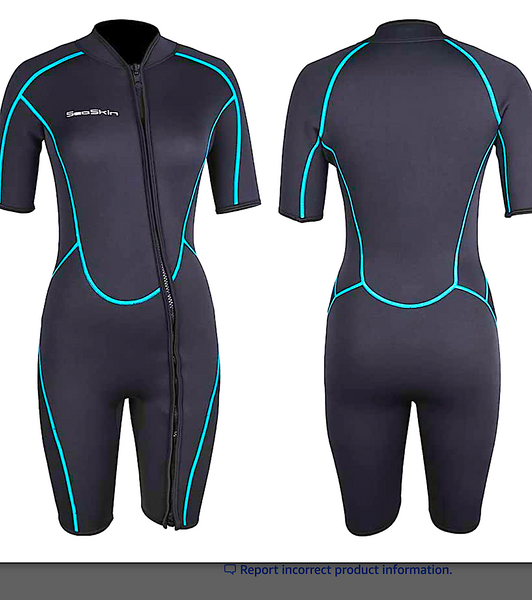 SEASKIN 3MM SHORTY WETSUIT: front zip suit for men and women