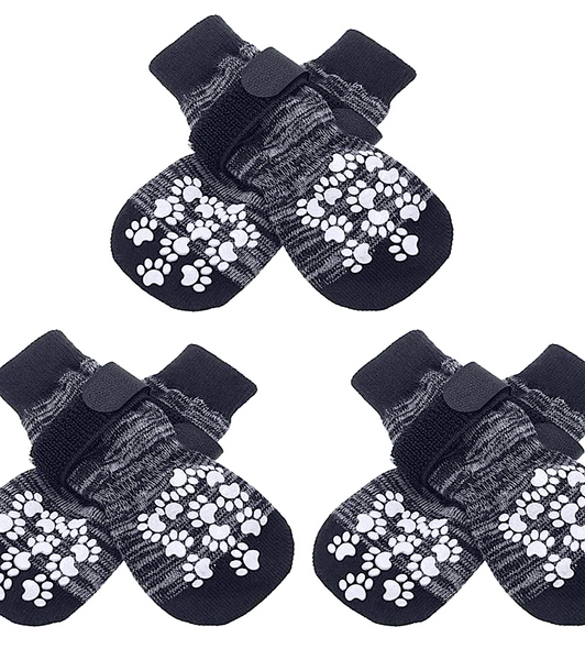 EXPAWLORER TRACTION SOCKS: double-sided grip, anti-slip dog socks with adjustable straps