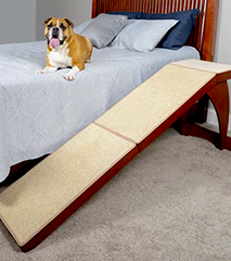 PETSAFE BED RAMP: high-grade wood and carpeted ramp holds up to 120lbs