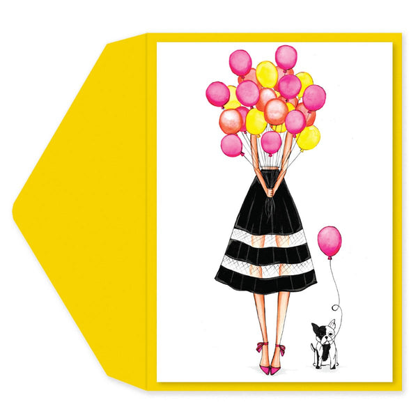Balloon Girl Birthday Card