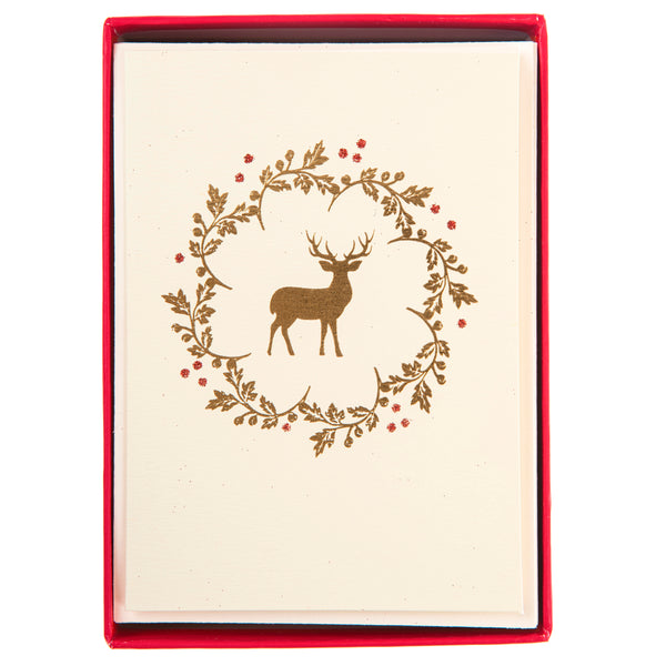 Reindeer Wreath Holiday Petite Boxed Cards