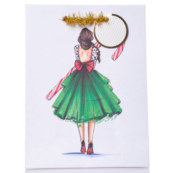 Candy Cane Girl Holiday Small Gift Bag