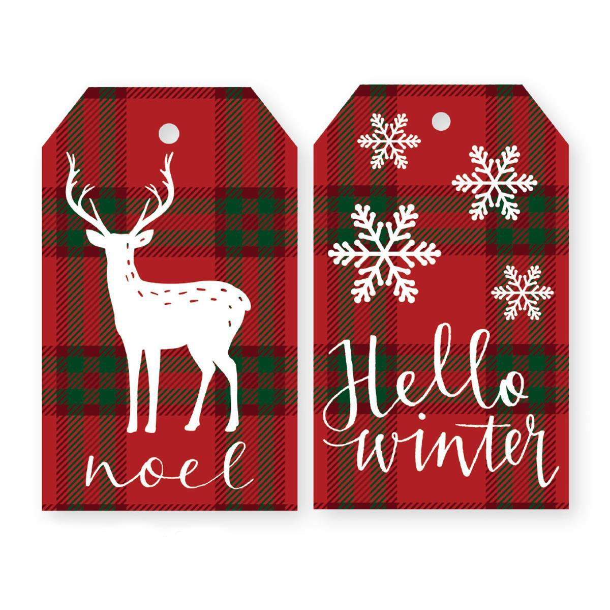 Plaid Hello Winter Holiday Duo Gift Tags