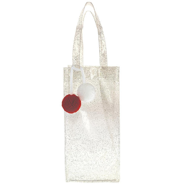 Frosted Gold Glitter Holiday vinyl wine tote
