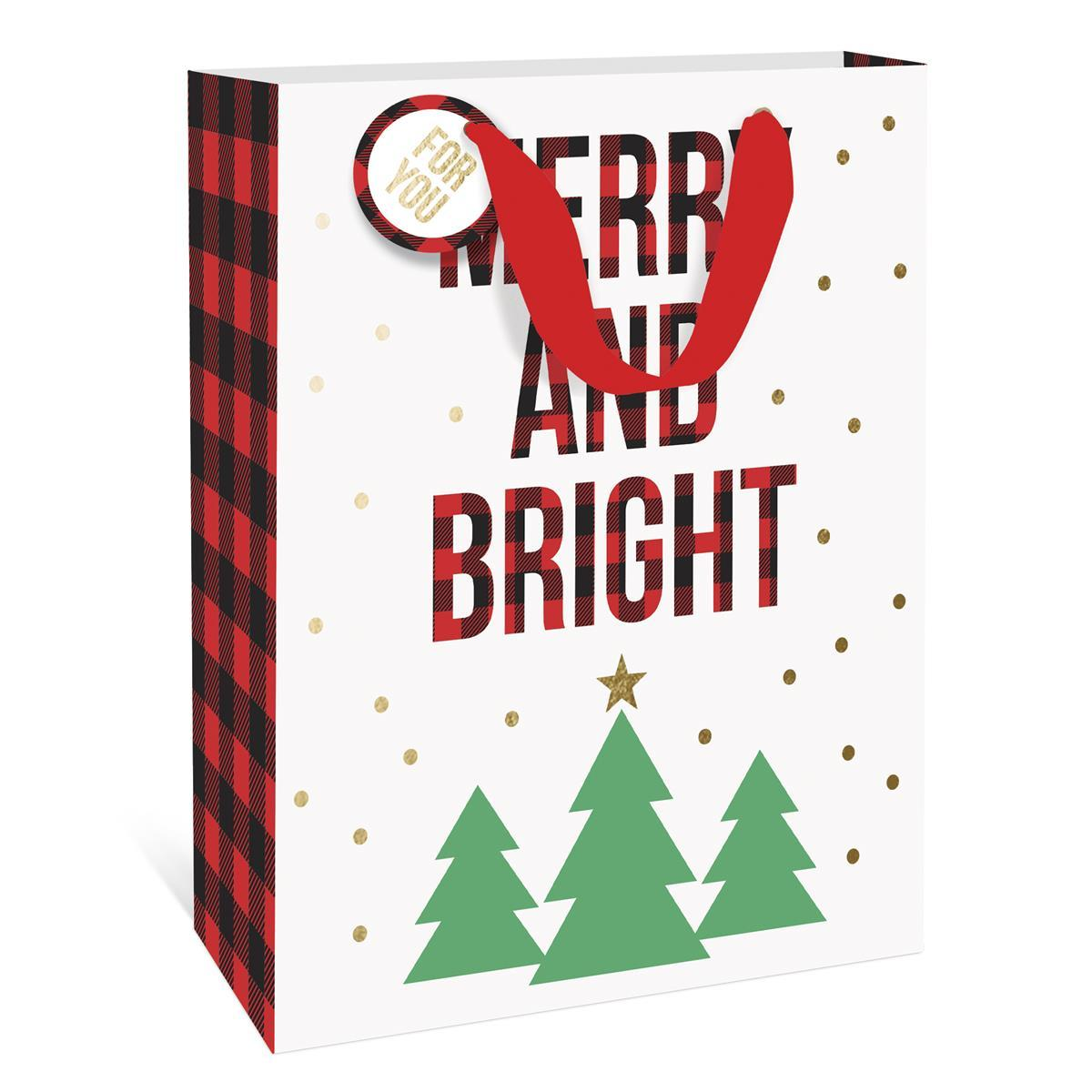 Merry and Bright Plaid Holiday Large Gift Bag
