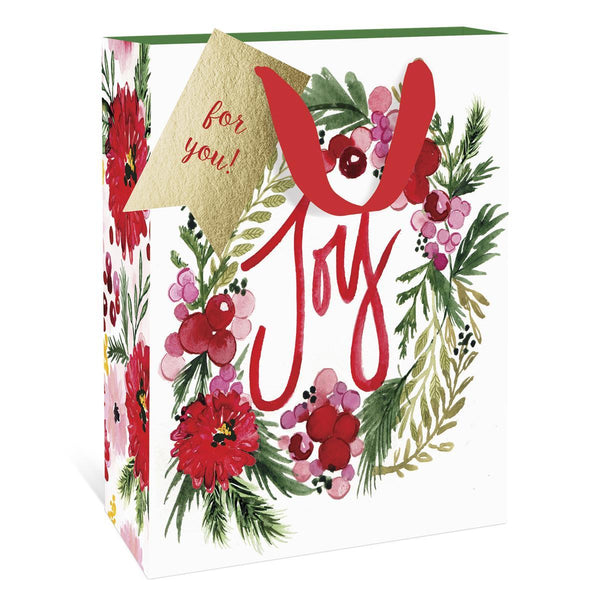 Floral Joy Wreath Holiday Large Gift Bag
