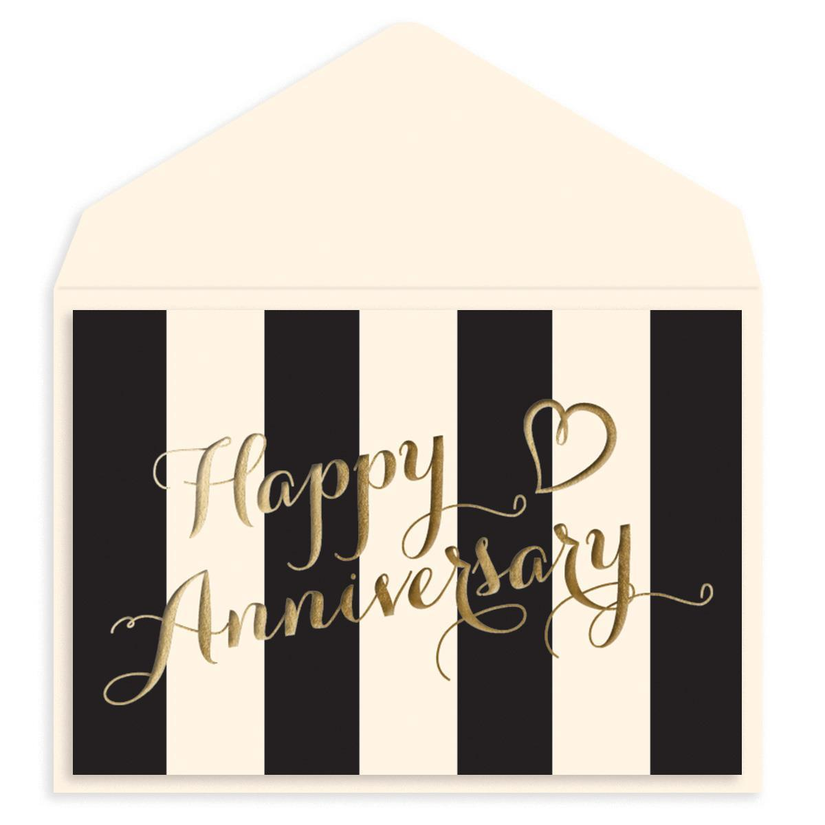Gold & Striped Anniversary Card
