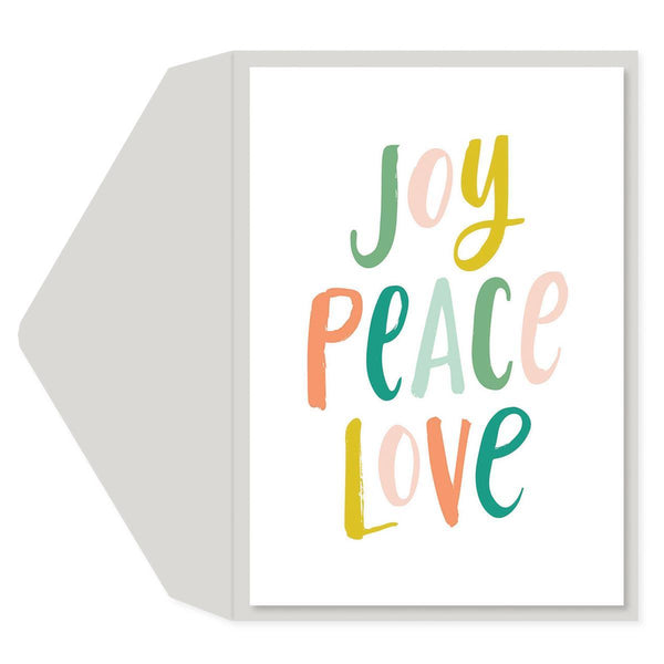 joy peace love Holiday Greeting Card